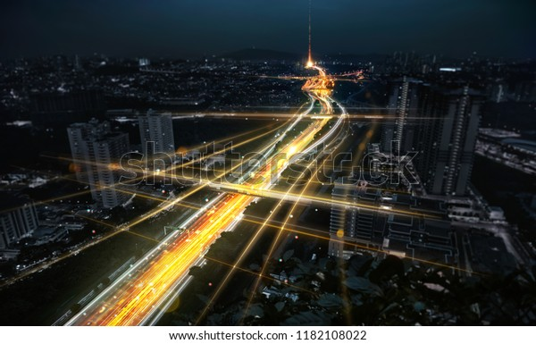 Communication network and traffic light on highway .Concept of smart city network, internet communication and digital traffic management system .