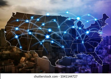 Communication network of United States of America.