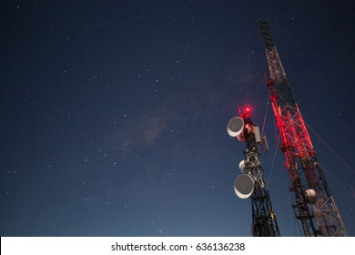 Communication pole at night with a milkyway background