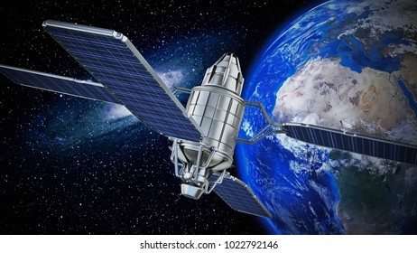 Communication satellite orbiting the earth. 3D illustration.