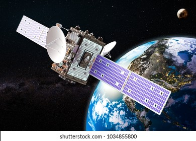 Communication satellite orbiting earth, 3D rendering, Elements of this image furnished by NASA