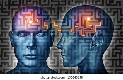 Communication solutions and mind control with a group of communicating human heads on a labyrinth or maze pattern with a laser light connection the thinking network of two brains.