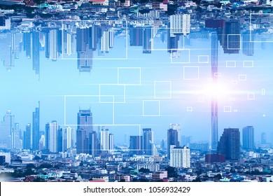 Communication Square box digital Network technology Bangkok Upside down city in inception Sci-fi futuristic fantasy effect style