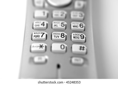communication technologies - cordless telephone keypad with focus in center