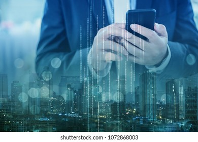 communication and technology it concept with hand use laptop smartphone woth city building infographic abstract background