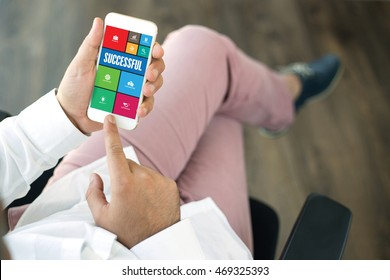 COMMUNICATION TECHNOLOGY INTERNET APP BUSINESS SUCCESSFUL CONCEPT