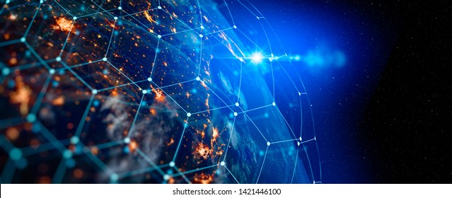 Communication technology for internet business. Global world network and telecommunication on earth cryptocurrency and blockchain and IoT. Elements of this image furnished by NASA - Shutterstock ID 1421446100