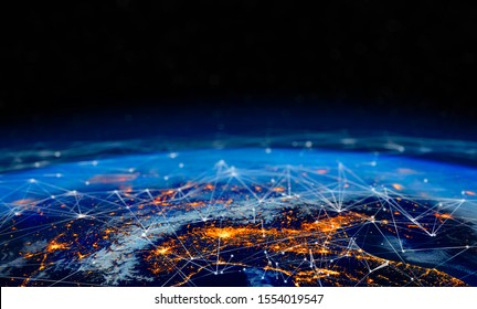 Communication technology for internet business. Global world network and telecommunication on earth cryptocurrency and blockchain and IoT. Elements of this image furnished by NASA