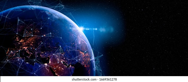 Communication technology for internet business. Global world network and telecommunication on earth and IoT. Elements of this image furnished by NASA - Shutterstock ID 1669361278