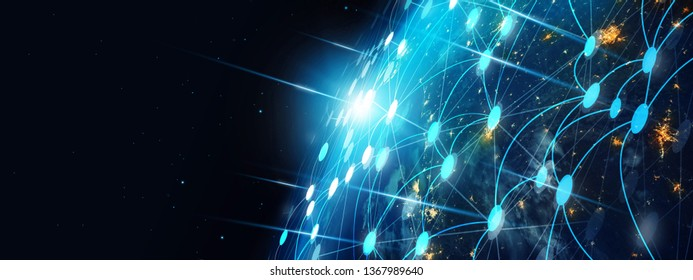 Communication technology and internet worldwide for business. Global world network connected and telecommunication on earth cryptocurrency, blockchain and IoT. Elements of this image furnished by NASA