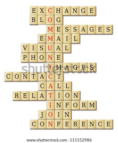 Communication Theme Words Associated Crossword Puzzle Stock Photo