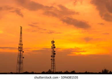 communication tower or 3G 4G WiFi network telephone cell site with sunset background with space for text