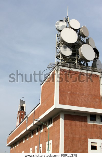 Communication Tower Building Antenna On Top Stock Photo