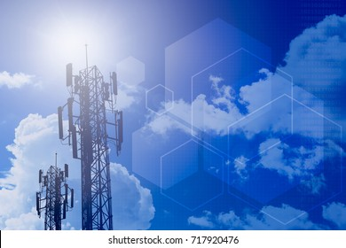 communication tower and information technology concept design for stage background
