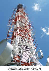 Communication tower with tv and radio antenna