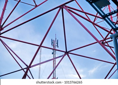 Communication tower,cell tower,against blue sky