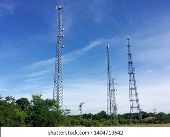 Communication towers with sky background