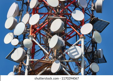 Communication transmitter tower with lots of antennas