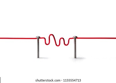 Communication. Two entities or network being connected with red wire with wave form or transmission in middle. Communication, Networking, social media, internet communication abstract. All red wire.