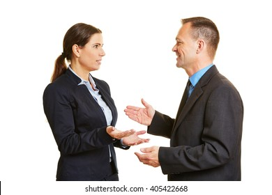 Communication with two talking business people with mimic and gestures