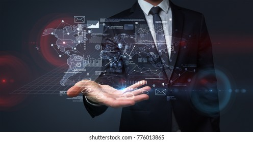 Communicational concept with businessman body and hand in background