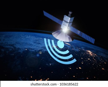 Communications satellite orbiting the Earth. Sputnik distributing the Internet. Free wifi. Elements of this image furnished by NASA.  3d rendering illustration