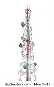 Communications tower isolated on white background
