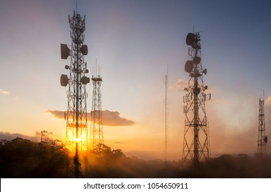 Communications Tower,antennas on sunset sky.
