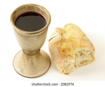 Communion - bread and wine on white background