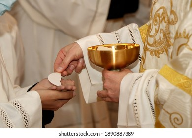Communion rite during mass in a Catholic church