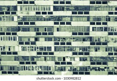 Communist era apartment block in Romania. Abstract image of flat built in communism era. East european block of flats.