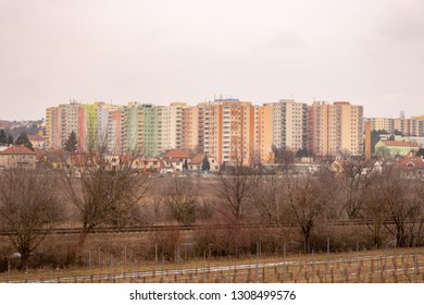 Communist socialist architecture. Architectural detail and pattern of social residential of apartments. Portrait of socialist-era housing district, city building facade. Brno in Czech Republic