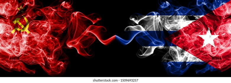 Communist vs Cuba, Cuban abstract smoky mystic flags placed side by side. Thick colored silky smoke flags of Communism and Cuba, Cuban