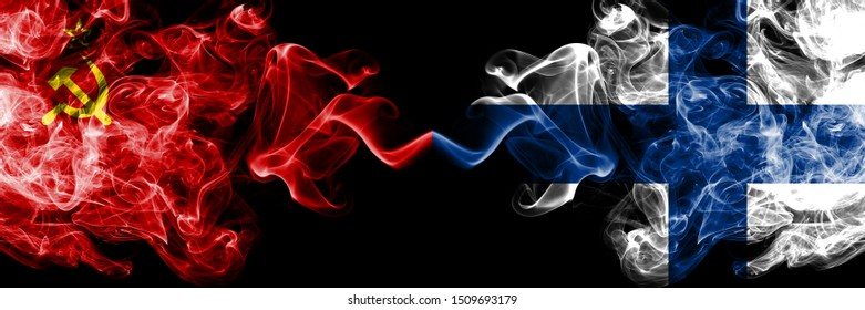 Communist vs Finland, FInnish abstract smoky mystic flags placed side by side. Thick colored silky smoke flags of Communism and Finland, FInnish