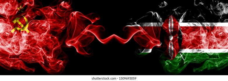 Communist vs Kenya, Kenyan abstract smoky mystic flags placed side by side. Thick colored silky smoke flags of Communism and Kenya, Kenyan