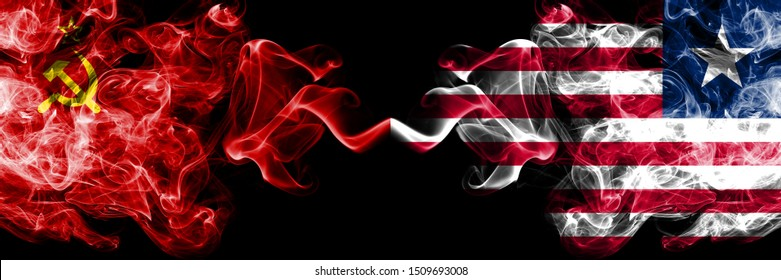 Communist vs Liberia, Liberian abstract smoky mystic flags placed side by side. Thick colored silky smoke flags of Communism and Liberia, Liberian