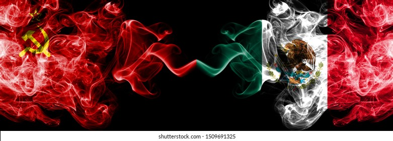 Communist vs Mexico, Mexican abstract smoky mystic flags placed side by side. Thick colored silky smoke flags of Communism and Mexico, Mexican