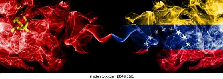 Communist vs Venezuela, Venezuelan abstract smoky mystic flags placed side by side. Thick colored silky smoke flags of Communism and Venezuela, Venezuelan
