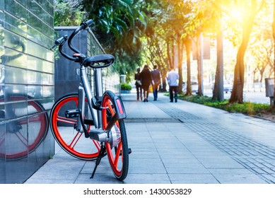 community bicycles are free to rent. Promotion of healthy and ecological lifestyle.Shanghai,China.