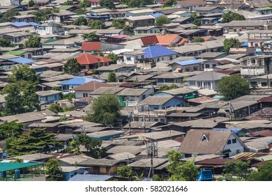 Community in capital city with bird eye view.
