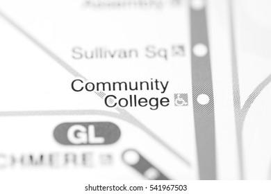 Community College Station. Boston Metro map.
