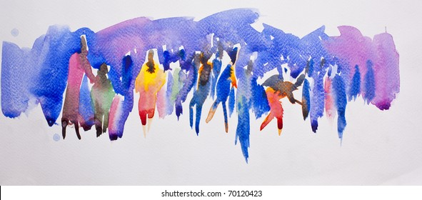 Community concept on abstract water color