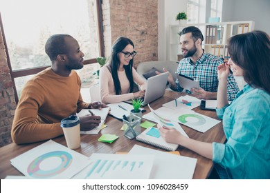 Community design desktop diversity email check corporate corporation production leader feedback concept. Four excited smart clever intelligent managers telling new technology  trends sitting table