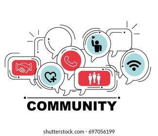 Community icons set for business illustration design