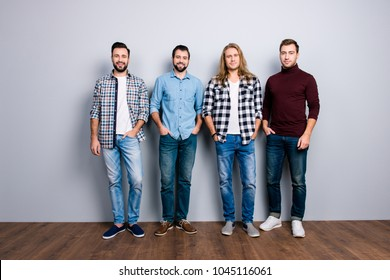 Community meeting colleagues classmates adults leadership authority concept.  Full-length full-size portrait of cheerful handsome mature guys, denim checkered clothes shoes isolated on gray background