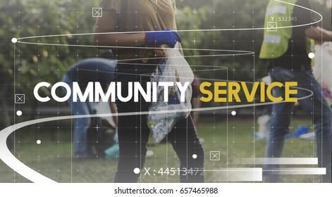 Community service volunteers togetherness teamwork