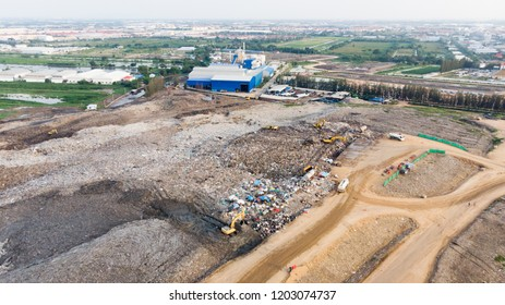 Community Solid Waste Landfill and Sanitary Landfill. Aerial from flying drone