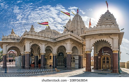Community temple on the westernmost point of land in Saurastra region of Gujrat, India. Translation of the text on doors of temples are names of god and saint in Sindhi Hindu community.