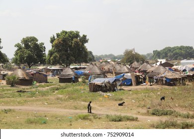 A community of traditional housing including homes made from mud and straw on the outskirts of Juba, South Sudan