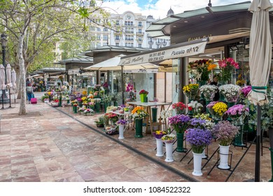 Community of Valencia, Spain - april 16, 2018: Shops selling flowers in the town hall square, in the urban center of the city of Valencia